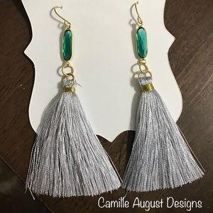 Gray Tassel earrings with emerald green stones